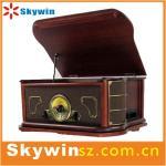 China カセット/radio/USBを持つ1人の回転盤プレーヤーに付き2014携帯用最もよいレトロの固体木の7人 wholesale