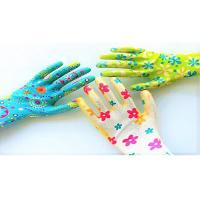 China No Slip Women'S Work Garden Gloves Knitted Wrist Flower Printed CE Approved wholesale