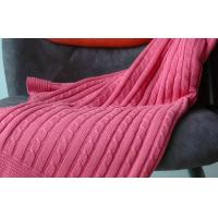 China Self Edge red Pure Combed Cotton Knit Throw Blankets for beds large 1.27M X 1.52M wholesale