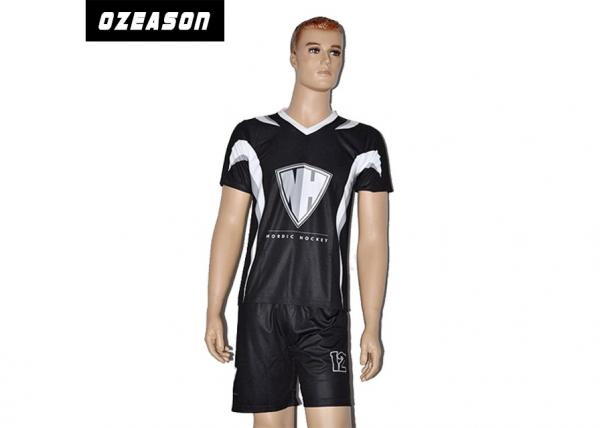 Quality Professional Custom Design Sublimated Football Jerseys All Black Soccer Uniform for sale