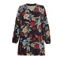 China Foral Printed Ladies Plus Size Dresses With Special Front Cutting Design wholesale