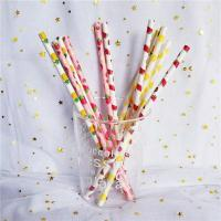 China Customized Printing Colored Paper Straws , Patterned Drinking Straws For Party wholesale
