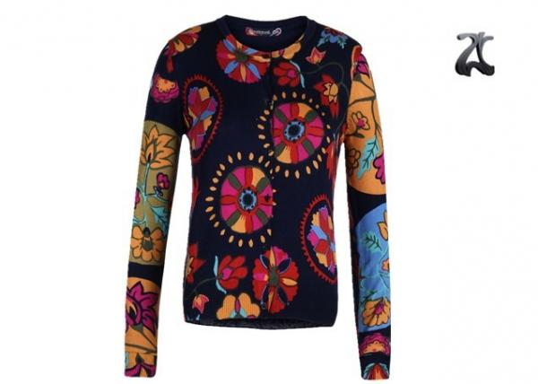 Quality Open Cardigan Womens Crew Neck Sweaters Button Down With Flower Printing for sale