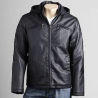 China 2012 men's new style hooded leather jacket on sale
