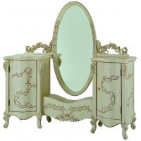 China Fancy white Dressing Table with Mirror, Antique French Style Luxury Wooden Dresser on sale