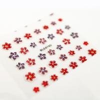 China Glitter flower Red and purple Nail Art Decals with Flower printing wholesale