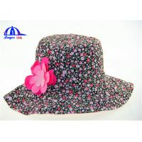 Fancy Flower Decoration Printed Bucket Hats with 100% Cotton Fabric Material