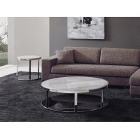 China Modern White Marble Coffee Tables, Italian Round Marble End Table Set wholesale