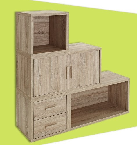 Quality Adjustable Light Wooden Book Case , Bookshelf With Doors/ Drawers for sale