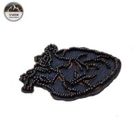 China Self Adhesive Black Large Heart Patch , Beads Material Embroidered Star Patches wholesale