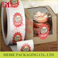 China Glossy paper top quality roll stickers label printing with custom design for cake box promotion wholesale