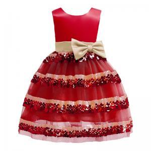 China Polo Dress Beige Bow Belt Wave Dress Sequin Princess Girl Dress My First Christmas Girl Ropa Niñas Girls Christmas Dress wholesale