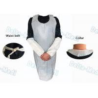 China Operating Rooms White Disposable Aprons , Dust Proof Plastic Throw Away Aprons wholesale