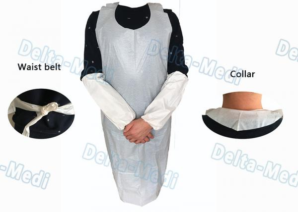 Quality Operating Rooms White Disposable Aprons , Dust Proof Plastic Throw Away Aprons for sale