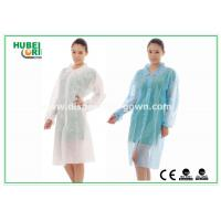 China PP & MP Nonwoven Disposable Lab Coats with Snaps , White Blue Red on sale