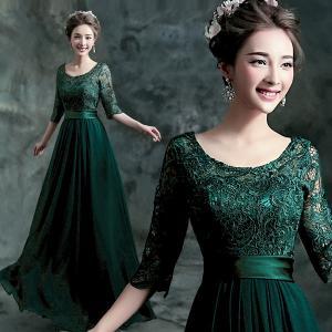 China Dark Green O Neck Mother Dresses Lace Elegant Evening Dresses TSJY056 wholesale