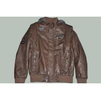 China OEM Size 50, Black / Coffee and Designer Male Fitted Hooded Leather Jackets for Gentleman on sale