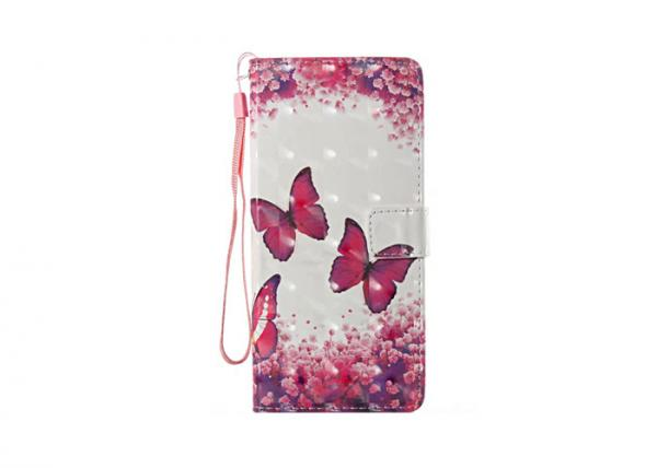Quality Butterfly Couple Pink Samsung Note 8 Flip Case Waterproof With Loop for sale