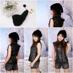 Buy cheap Women's Fur Hat Rex Rabbit Fur Hat Fur Cap Fur Headgear Fur Chapeau Black Christmas hats from wholesalers