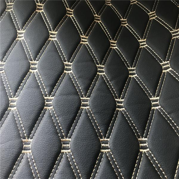 Quality Black Color Fake Leather Fabric / Artificial Leather Cloth SGS Certification for sale