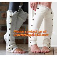 China Little Girls Knitted leg warmers Crochet Lace Trim and Buttons children kids leg warmers on sale