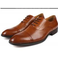 China Flat Cap Toe Mens Oxford Dress Shoes , Mens Brown Suit Shoes Low Heel Type on sale