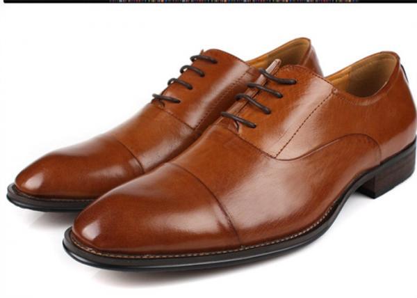 Quality Flat Cap Toe Mens Oxford Dress Shoes , Mens Brown Suit Shoes Low Heel Type for sale