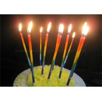 China Color Gradient Long Thin Birthday Cake Candle Blue Green Yellow Red Orange Paraffin wholesale