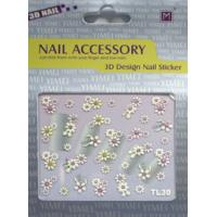 Buy cheap Customized Easy Removable White Flower 3d Nail Sticker Use On Skin Ceramic from wholesalers