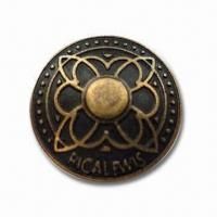 China Close Top Jeans Buttons, Made of Brass, Suitable for Various Apparel, with Antique Brass Plating wholesale