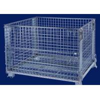 China Foldable security Wire Mesh Cages for warehouse storage 3 ~ 4 levels stacking wholesale