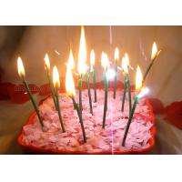 China Dark Green Sparkling Birthday Cake Candles With Shimmer Sizzle , Slim 24pcs Candles wholesale