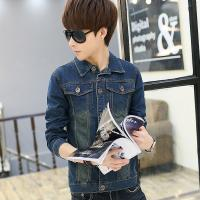 China Stretch Skinny Vintage Butt Lift Mens Denim Jackets With Leather Sleeves wholesale