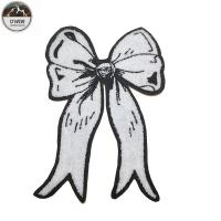 China White BowKnot Custom Chenille Patches OEM 30*20CM Size For Girls Dresses wholesale