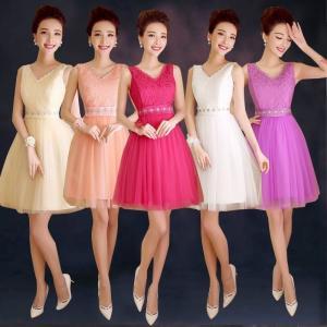 China New Short Halter Champagne Purple Bridesmaid Dress Bride Strapless Lace Rose Dress wholesale