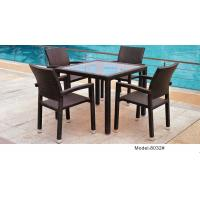 China 5-piece synthetic rattan wicker outdoor patio glass  top garden dining table 4 armchairs-8032 wholesale