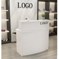 China Wooden Reception Desk Display Case With Acrylic Logo For Shopping Mail wholesale