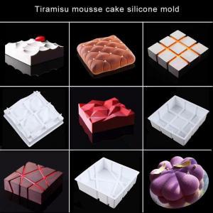 China Square Mousse Cake Silicone Mold Dessert Pastry Decoration Tools Fondant Cake Molds Bakeware DIY wholesale