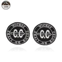 China Round Letter Embroidery Designs Patches Badge Black / White With Merrow Border wholesale
