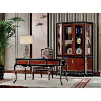 China Luxury Home office Furniture set Ebony wood Bookcase cabients and Reading desk in glossy painting with Writing chairs wholesale