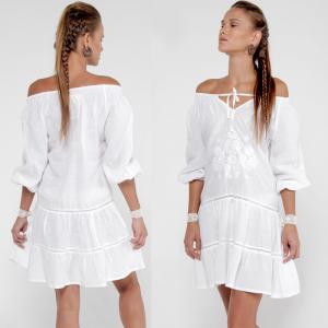 China 2018 Summer women off shoulder white dress on sale