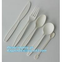 China cornstarch biodegradable PLA eco plastic cutlery sets,Plastic spoon fork chopsticks Wheat Straw Reusable Camping Biodegr on sale