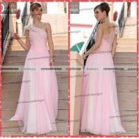China Simple Style A-Line One Shoulder Floor Length Prom Dresses Pink Bridesmaid Dresses on sale