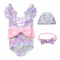 China Infant Toddler Baby Girls Colorful Fish Scale Mermaid Ruffles Sleeve One-Piece Swimwear Swimsuit Bathing Suit for 0-4T wholesale