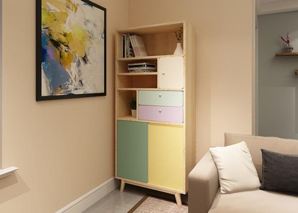 Quality Attrative Modern Bedroom Bookshelf With Solid Wood + Melamine + Lacquer Painting for sale