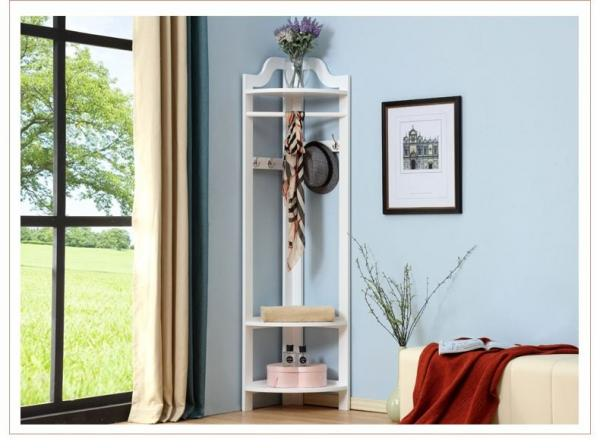 Quality White Tall Corner Wood Display Rack Unit  /  Shelves Three Hangers for sale