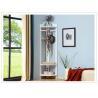 China White Tall Corner Wood Display Rack Unit  /  Shelves Three Hangers wholesale