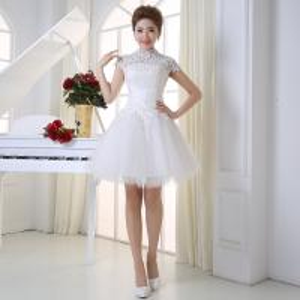 China New Spring And Summer Dress Short Paragraph Shoulder Thin Lace Bridal Dresses wholesale