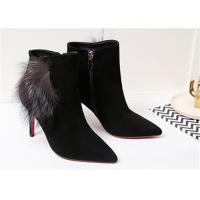 China Pointed Toe Ankle Length Boots Sheep Suede High Heel Ankle Shoes With Fox Fur Ornaments wholesale