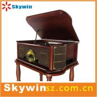 Quality 2014 portable  Best Retro solid wooden 7 in 1 turntable player  with cassette /radio/USB for sale